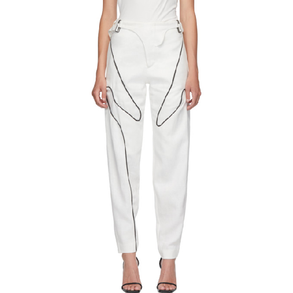 Vejas Straight Leg Piped Jeans In White