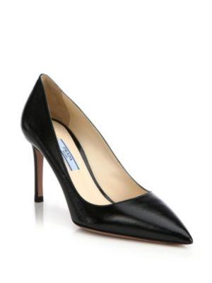 Prada Capretto Leather Pointed-Toe Pump In Black
