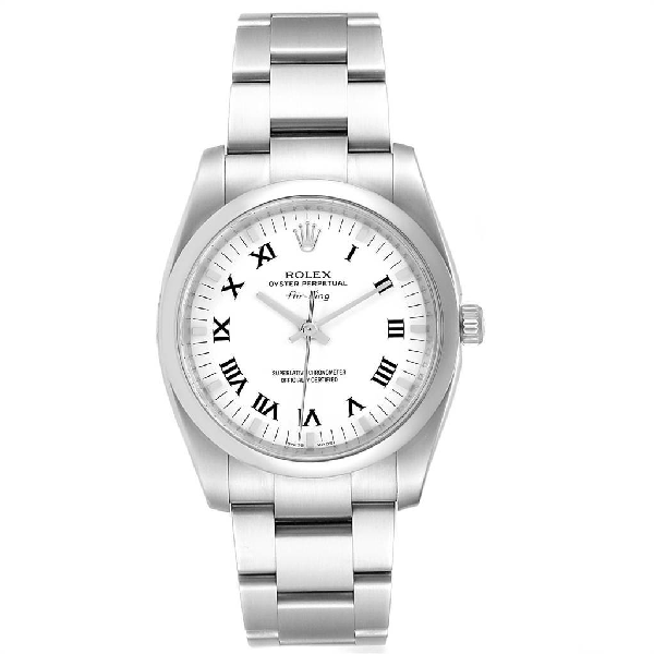 Rolex Air King White Roman Dial Steel Unisex Watch 114200 Box In Not Applicable