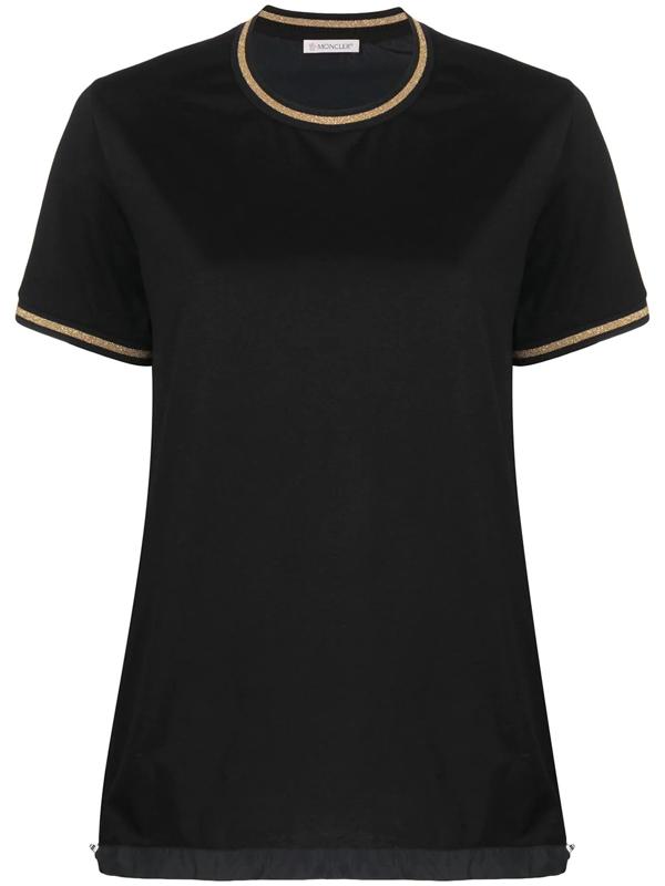 Moncler T-shirt With Sparkling Details In Black