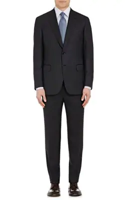 Brioni Essential Virgin Wool Two-Piece Suit, Navy In Anthracite