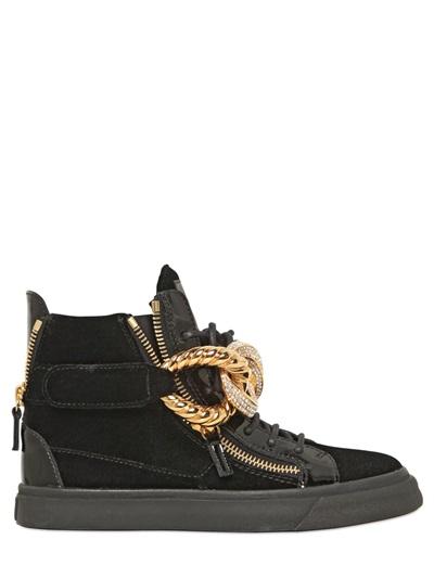 Giuseppe Zanotti Jeweled Chain Velvet Sneakers In Black
