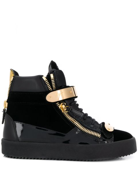 Giuseppe Zanotti Coby High-top Velvet Trainers In Black