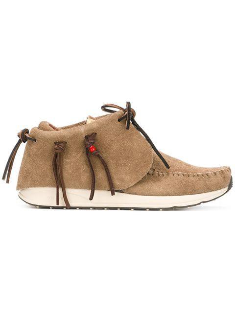 Visvim Fbt Suede Moccasin Sneakers In Neutrals