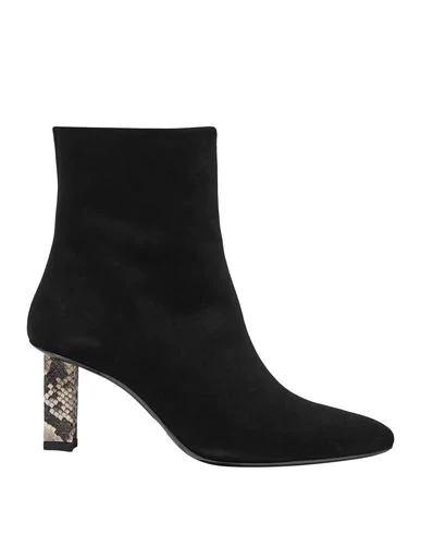 Staud Brando Snake-effect Leather-trimmed Suede Ankle Boots In Black