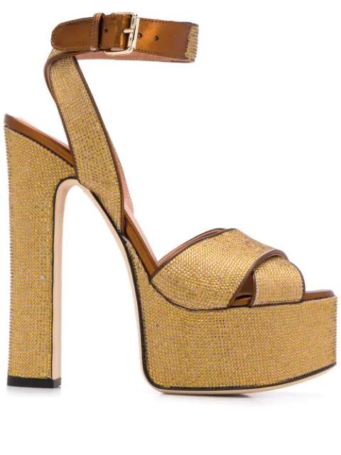 Marco De Vincenzo Embellished Platform Sandals In Gold