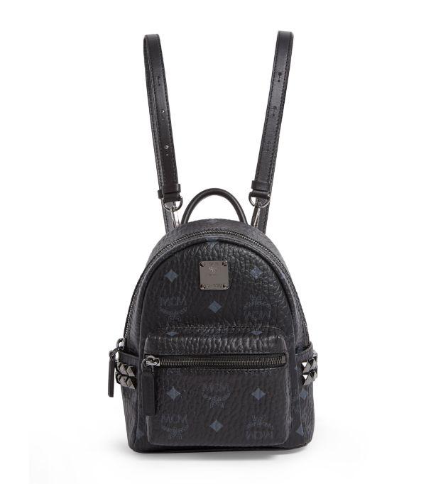 Mcm 'x-mini Stark Side Stud' Convertible Backpack - Black In Black | Black