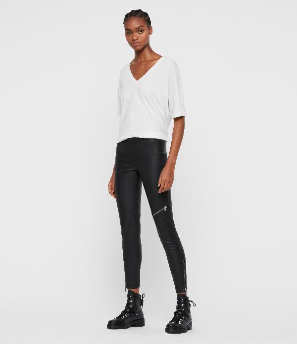 Allsaints Kriva Leather Leggings In Black