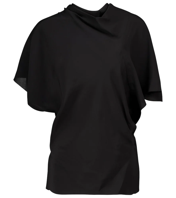Rick Owens Asymmetric Draped Detail Top In Black