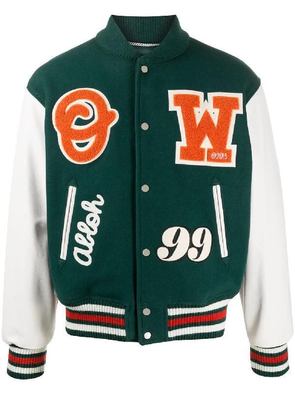 Off-white Barrel Leather Varsity Jacket Green/orange