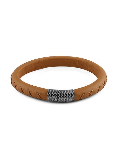 Zegna Leather & Sterling Silver Logo Bracelet