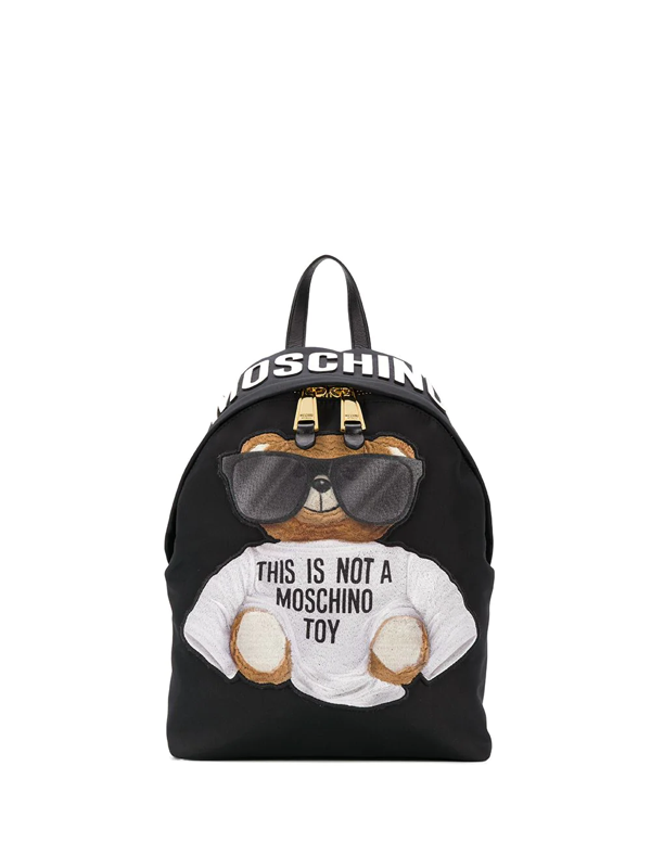 Moschino Embroidered Teddy Backpack In Black
