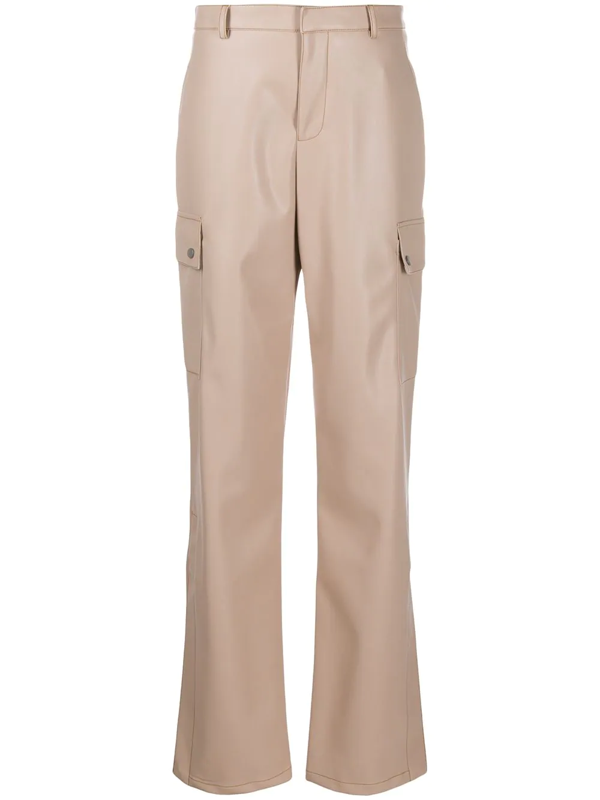 Fenty Faux Leather Baggy Trousers In Neutrals