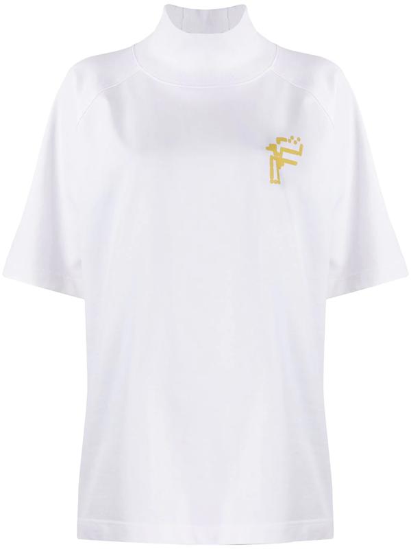 Fenty Oversized High-neck Printed T-shirt In White