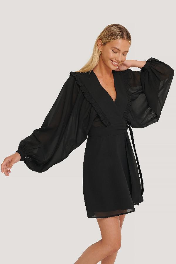 Misslisibell X Na-kd Deep V-neck Wrap Around Mini Dress - Black