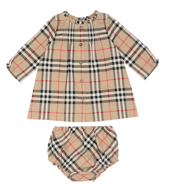Burberry Baby Marissa Cotton Dress And Bloomers Set In Beige