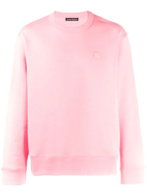 Acne Studios 'fairview Face' Sweatshirt In Pink