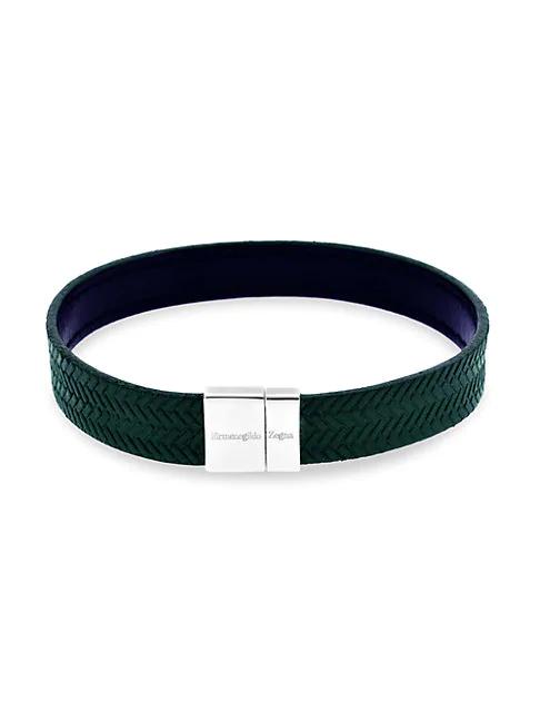 Zegna Reversible Embossed Herringbone Sterling Silver & Leather Bracelet