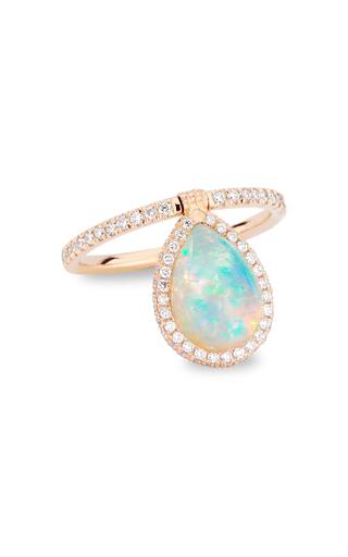 Nina Runsdorf Medium 18k Rose-gold Opal And Diamond Flip Ring In White