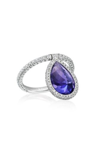 Nina Runsdorf 18k Palladium, Tanzanite And Diamond Flip Ring In Blue