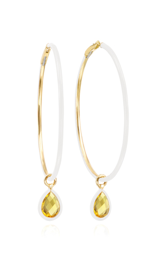 Nina Runsdorf The Artist 18k Yellow-gold, Citrine And White Enamel Hoo