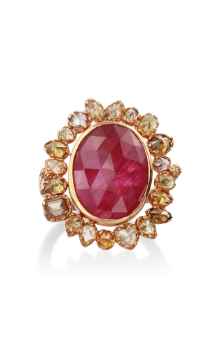 Nina Runsdorf 18k Rose-gold Ruby And Yellow Diamond Cocktail Ring In Red