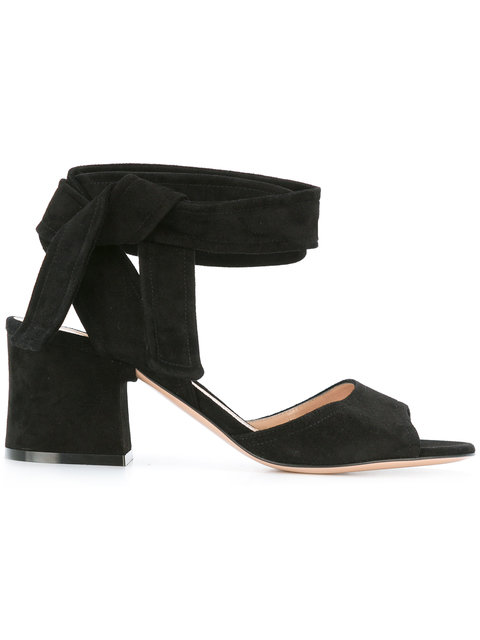 Gianvito Rossi Ankle Tie Sandals In Black