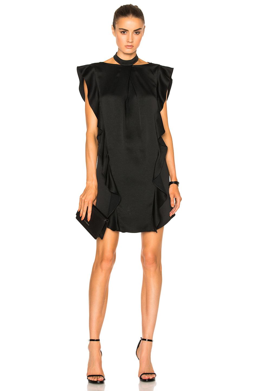 Marissa Webb Kera High Neck Satin Dress In Black