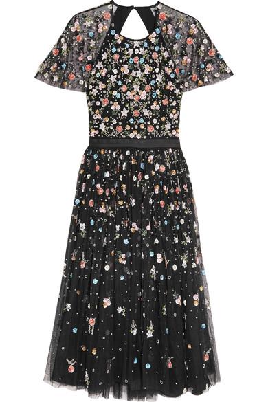 Needle & Thread Starburst Open-back Embellished Tulle Dress In Black