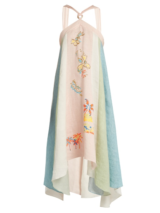 Peter Pilotto Embroidered Striped Linen Halterneck Dress In White Print