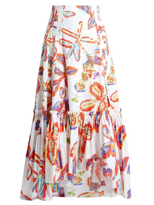 Peter Pilotto Floral-print Ruffled-hem Cotton-poplin Skirt In White Print