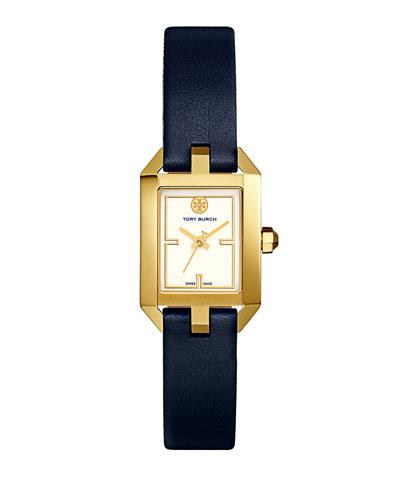 Tory Burch Dalloway Goldtone Stainless-steel And Leather Strap Watch In Blue