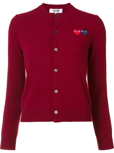 Comme Des GarÇons Play V-neck Wool Cardigan In Red