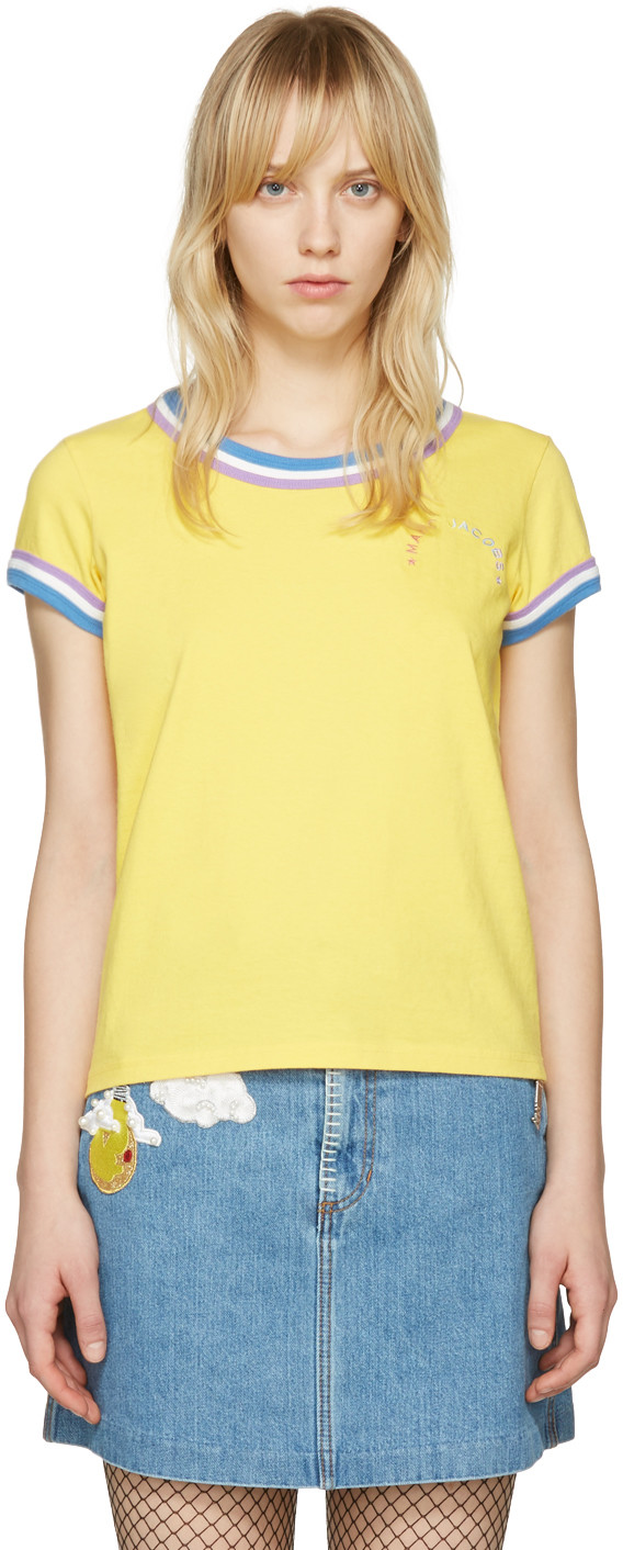 Marc Jacobs Yellow Rainbow 70's T-Shirt In Yellow Multi