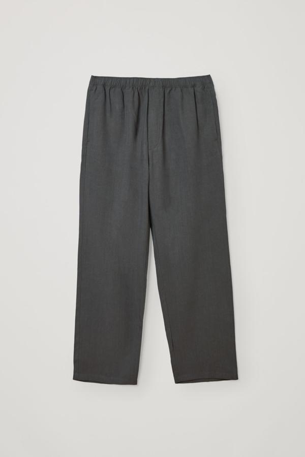 Cos Lyocell-linen Mix Wide Leg Trousers In Grey