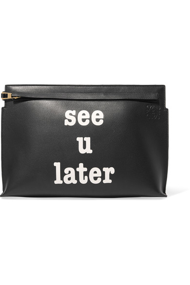 Loewe Black 'see U Later' T Pouch In Black & White