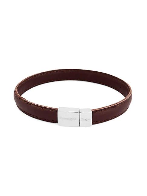 Zegna Sterling Silver & Leather Stitch Bracelet