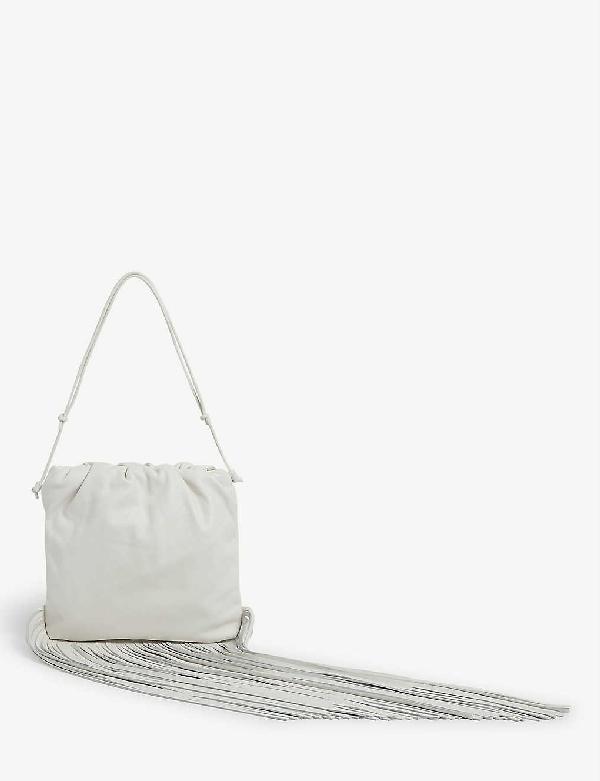 Bottega Veneta Fringed Leather Shoulder Bag In Bianco-gold