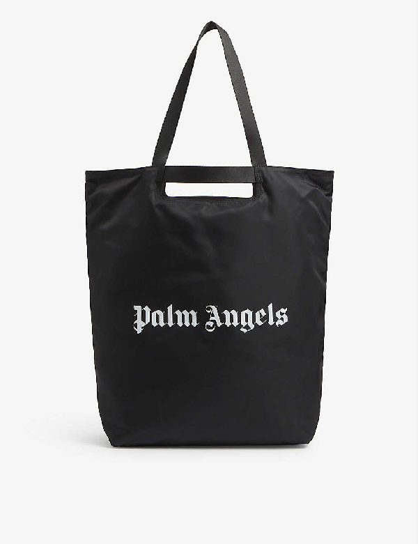 Palm Angels Logo-printed Woven Shopper Tote Bag In Black White