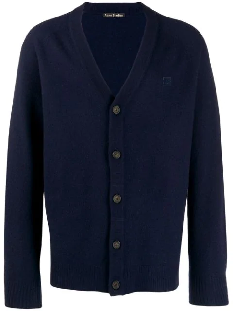 Acne Studios Face Patch V-neck Cardigan In Blue