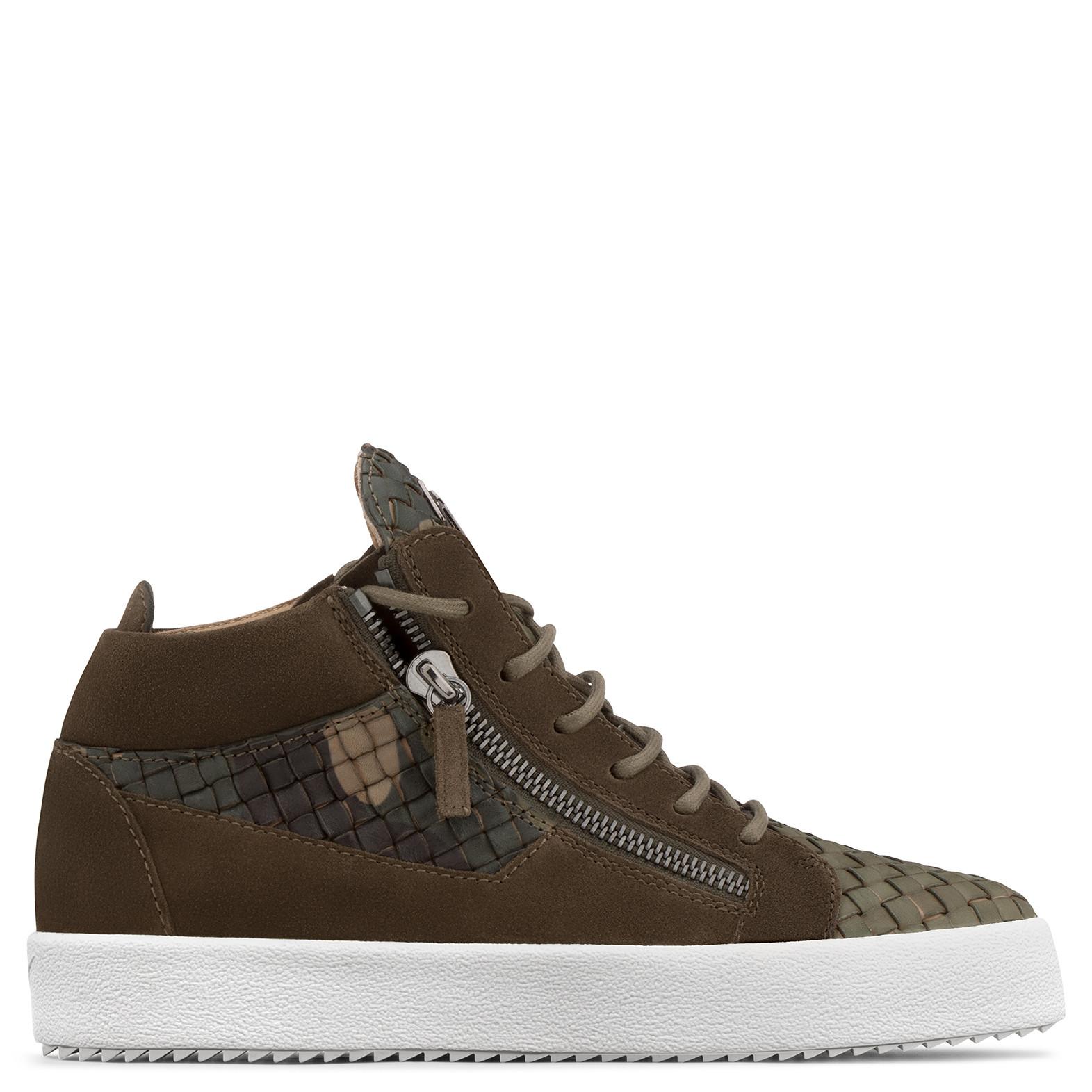 Giuseppe Zanotti - Camouflage Stranded Calfskin Mid-top Sneaker Clay In Multicolor