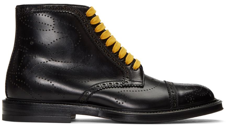 Gucci Crab Multicolour Laced Brogue Boots In Black
