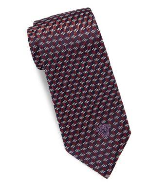 Versace Printed Silk Tie In Red