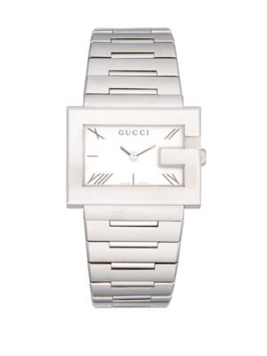 Gucci G-rectangle Stainless Steel Bracelet Watch In Silver