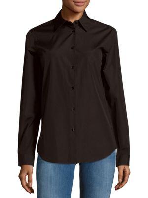 Jil Sander Solid Spread-collar Button-down Shirt In Black