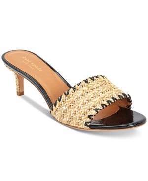 Kate Spade Seberg Kitten-heel Raffia Mules In Natural/black