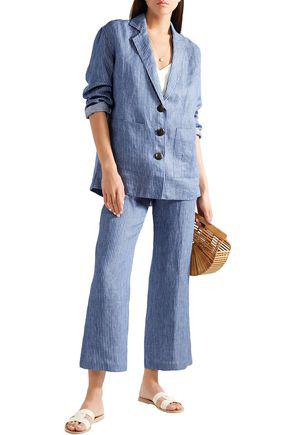 Mara Hoffman Fatima Embroidered Striped Organic Linen-twill Jacket In Blue