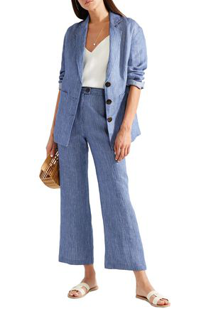 Mara Hoffman Arlene Striped Organic Linen-twill Flared Pants In Blue