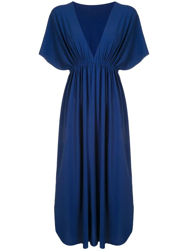 Eres V-neck Maxi Dress In Blue