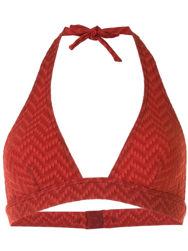 Eres Zigzag-pattern Triangle Bikini Top In Red